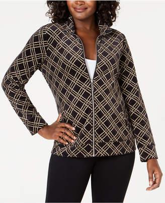 Karen Scott Petite Plaid Velour Jacket