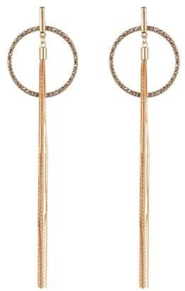 Black Diamond ACCESSORIES Crystal Frontal Hoop Tassel Earrings