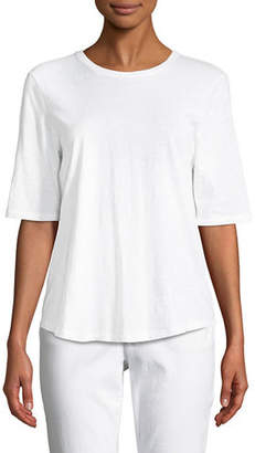 Eileen Fisher Half-Sleeve Slubby Organic Cotton Top, Plus Size