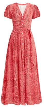 Athena Procopiou - Mandrem Love Print Belted Silk Crepe Dress - Womens - Red White