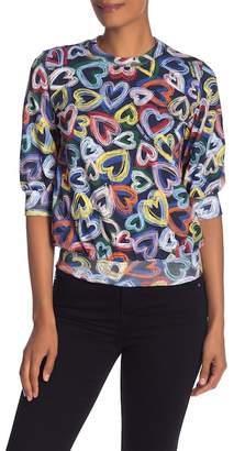 Love Moschino Elbow SIeeve Print Pullover