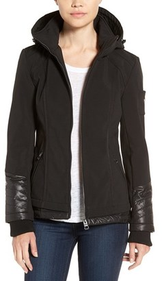 GUESS Water Resistant Hooded Soft Shell Jacket $128 thestylecure.com