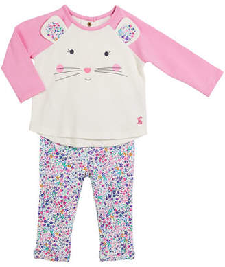 Joules Amalie Mouse Long-Sleeve Top w/ Floral Pants, Size 3-24 Months