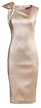 Theia Women's Shoulder Bow Metallic Cocktail Dress