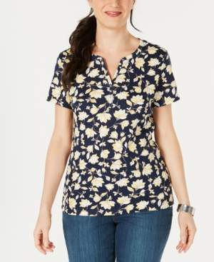 Karen Scott Printed Split-Neck T-Shirt, Created for Macy's