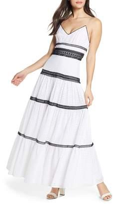 Jill Stuart Black & White Cotton Eyelet Maxi Dress