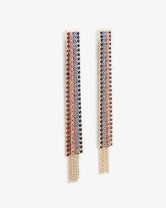 Express Ombre Rhinestone Fringe Drop Earrings