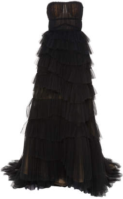 Jason Wu Collection Pleated Tiered Strapless Tulle Gown