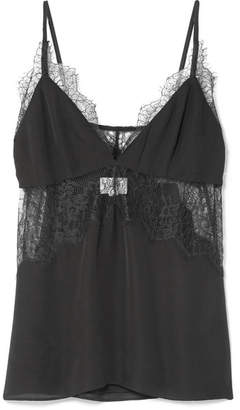 CAMI NYC The Kinley Lace-trimmed Silk-charmeuse Camisole - Black
