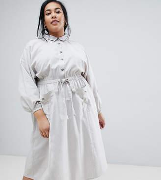 Asos DESIGN Curve midi casual shirt dress with drawstring waist
