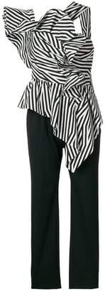 Self-Portrait asymmetric striped ruffle jumpsuit