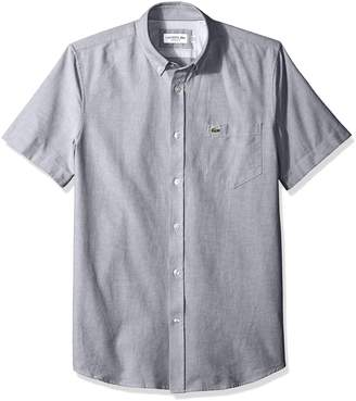 Lacoste Men's Short Sleeve Oxford Button Down Collar Regular Fit Woven Shirt, CH4975