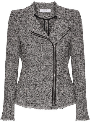 IRO - Leather-trimmed Frayed Cotton-blend Tweed Jacket - Black $700 thestylecure.com
