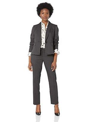 Le Suit Women's 1 Button Mini Pinstripe Slim Pant Suit