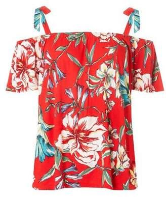 Dorothy Perkins Womens Red Floral Print Tie Cold Shoulder Top