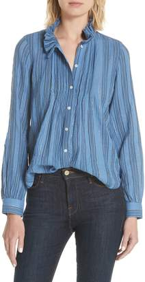 Rebecca Taylor Metallic Stripe Ruffle Neck Blouse