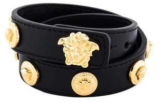 Versace Medusa Leather Wrap Bracelet