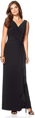 Chaps Petite Surplice Drape-Front Full-Length Dress