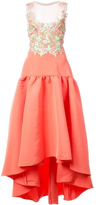Marchesa embroidered faille high-low dress