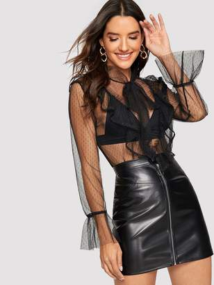 Shein Tie Neck Lace Trim Sheer Mesh Top Without Bra