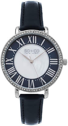 Mother of Pearl SO & CO Ny Women's Soho Navy Leather Strap White Center Dial With Navy Tone Outer Dial Dress Quartz Watch J155P71