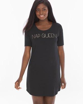 Loose Fit Short Sleeve Sleepshirt Nap Queen Black