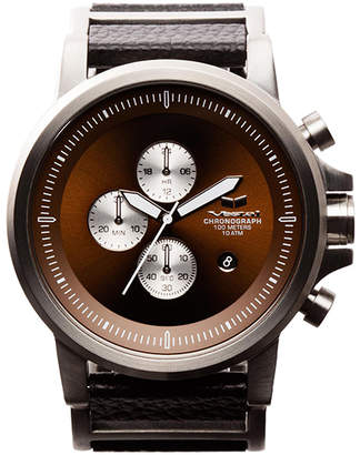 "Vestal Premium Leather & Stainless Steel Watch ""Plexi"""