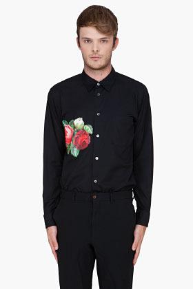 Comme des Garcons Black Flower Pattern Shirt