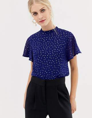 Oasis glitter spot blouse with angel sleeves in blue