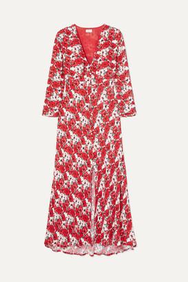 RIXO - Katie Floral-print Crepe De Chine Midi Dress - Red