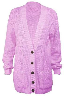Momo Fashions Ladies Long Chunky Cable Knitted Button Cardigan CA Size 6-24