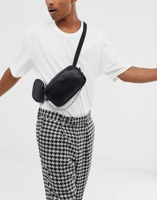 Asos Design DESIGN faux leather cross body fanny pack with multi pockets and chain