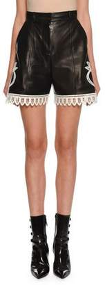 Alexander McQueen Eyelet-Embroidered High-Rise Leather Shorts