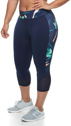 Tek Gear Plus Size Mesh Midrise Capri Leggings