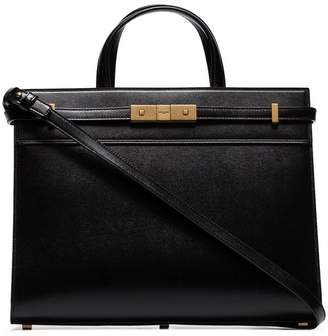 Saint Laurent black manhattan small leather tote bag