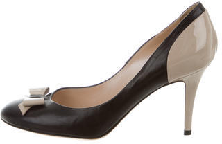 Casadei Leather Round-Toe Pumps $95 thestylecure.com