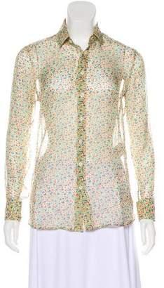 Saint Laurent Silk Floral Button-Up