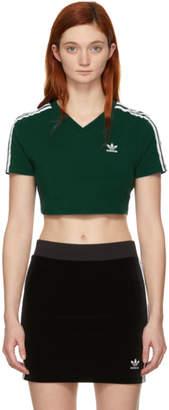 adidas Green Cropped 3-Stripes T-Shirt