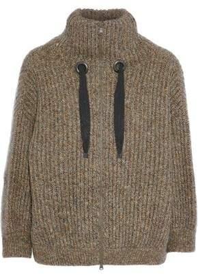 Brunello Cucinelli Bead-Embellished Marled Cashgora Wool And Cashmere-Blend Cardigan