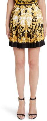 Versace First Line Hibiscus Print Pleated Silk Skirt