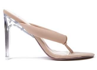 70cfb7c9401 Missy Empire Missyempire Holli Nude Flip Flop Perspex Heels