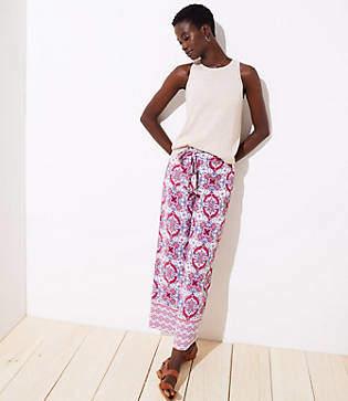 LOFT Mosaic Tie Waist Wide Leg Pants