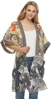 Women's Caribbean Summer Mixed Print Drape Front Kimono