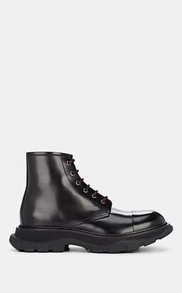 Alexander McQueen Men's Oversized-Sole Spazzolato Leather Boots - Black