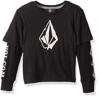 Volcom (ヴォルコム) - [ボルコム] [ キッズ ] 長袖 フェイク Tシャツ (フェイク重ね着) [ Y0341831 / West Two Fer Kids ] かわいい 子供服 BLK_ブラック US 4T (日本サイズ110 相当)