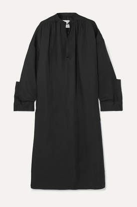 Jil Sander Oversized Gathered Twill Midi Dress - Black