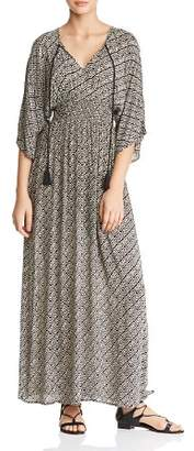 En Creme Smocked Abstract Geo-Print Maxi Dress