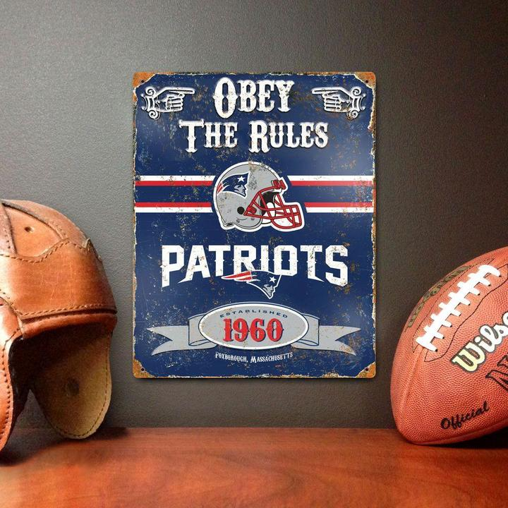 Party Animal 14.5 in. H x 11.5 in. D Heavy Duty Steel New England Patriots Embossed Metal Sign Wall Art