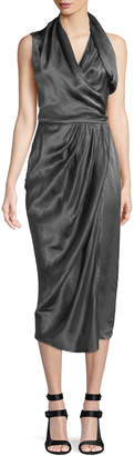Rick Owens Sleeveless Shiny Silk Wrap Midi Dress