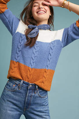 Moth Colorblocked Cable-Knit Sweater